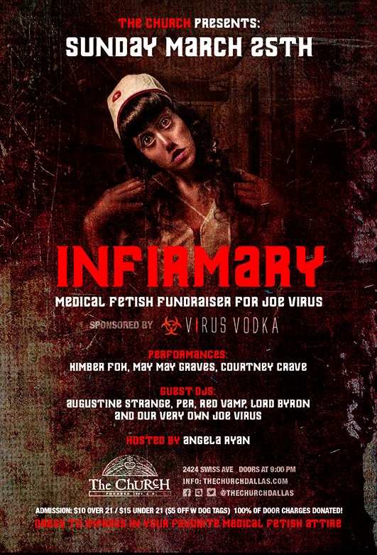 Click to view flyer for 03.25.2018 INFIRMARY: Medical Fetish Fundraiser for Joe Virus
