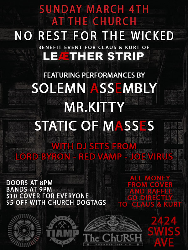 Click to view flyer for 03.04.2018 No Rest For The Wicked: Benefit for Claus & Kurt of Leæther Strip