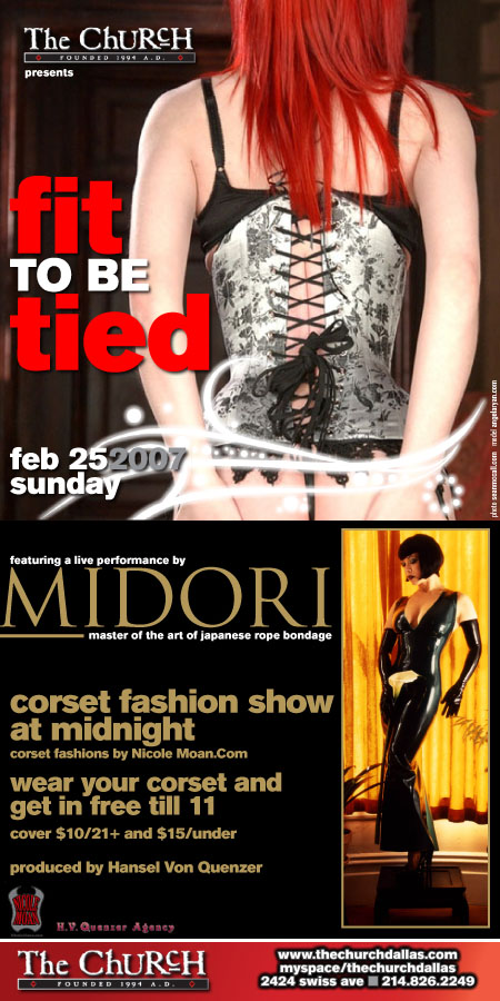 Click to view flyer for 02.25.2007 Fit to be Tied Corset Party w/ Midori