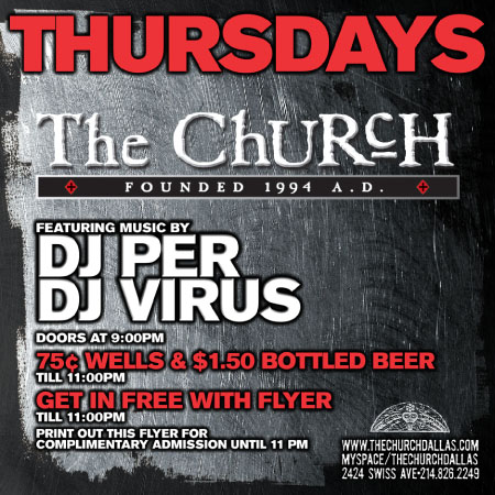 Click to view flyer for 02.15.2007 Thursdays inside the Church