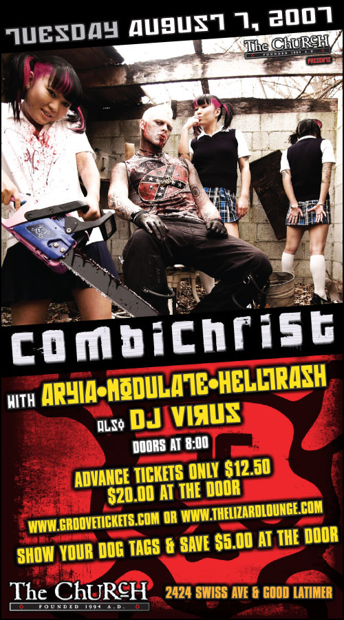 Click to view flyer for 08.07.2007 Combichrist, Aryia & Modulate