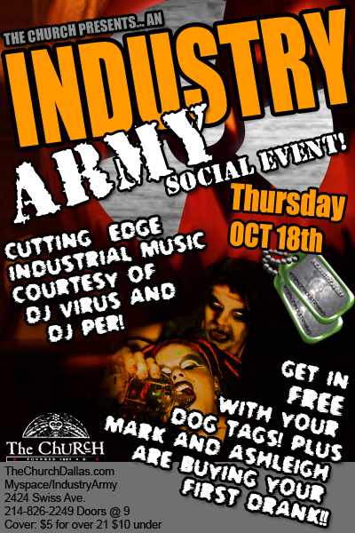 Click to view flyer for 10.18.2007 Industry Army Social