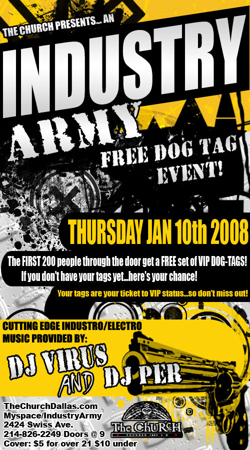 Click to view flyer for 01.10.2008 Industry Army Dog Tag Give away
