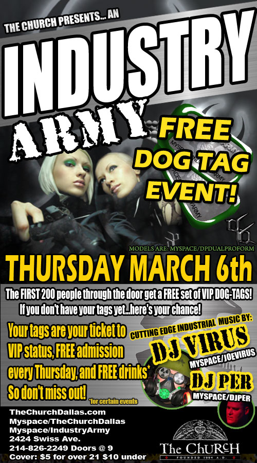 Click to view flyer for 03.06.2008 Industry Army - Free Dog Tag Event