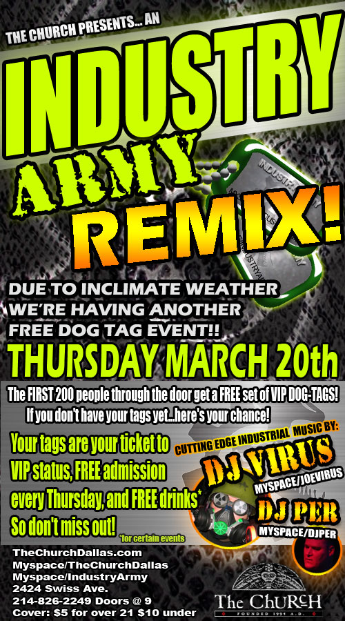 Click to view flyer for 03.20.2008 Industry Army - Free Dog Tag Event